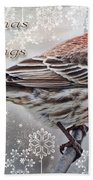 Christmas Blessings Finch Greeting Card Beach Towel