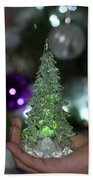 A Christmas Crystal Tree In Green  Beach Towel