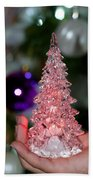 A Christmas Crystal Tree In Pink  Beach Towel