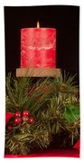 Christmas Candle Trio Beach Towel by Kenneth Sponsler