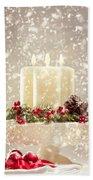 Christmas Candles Beach Towel