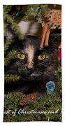 Christmas Cat Beach Towel