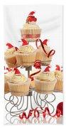 Christmas Cupcakes On Stand Beach Towel