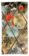 Christmas Decorations In Window Beach Towel