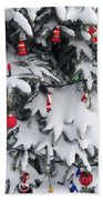 Christmas Decorations On Snowy Tree Beach Sheet