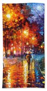 Christmas Emotions - Palette Knife Oil Painting On Canvas By Leonid Afremov Beach Towel