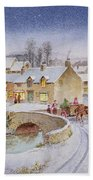 Christmas Eve In The Village  Beach Towel by Stanley Cooke