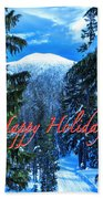Christmas Holidays Scenic Snow Covered Mountains Looking Through The Trees  Beach Towel