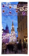 Christmas Illumination On Piwna Street In Warsaw Beach Towel