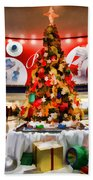 Christmas In The Train Station Beach Towel