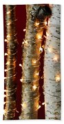 Christmas Lights On Birch Branches Beach Towel by Elena Elisseeva