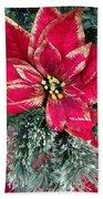 Christmas Poinsettia Beach Towel