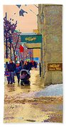 Christmas Shoppers Ogilvys Enchanted Village Window Display A Montreal Xmas Tradition Carole Spandau Beach Towel