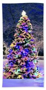 Christmas Tree In Snow Beach Towel