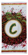 Christmas Wreath Initial C Beach Towel