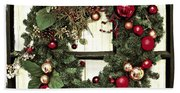 Christmas Wreath On Black Door Beach Towel