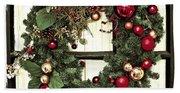 Christmas Wreath On Black Door Beach Sheet