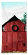 Christmas Wreath On Red Barn Beach Towel