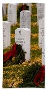Christmas Wreaths Laid At The Arlington Cemetery Beach Towel
