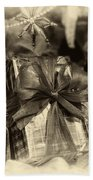 Christmasgift Under The Tree In Sepia Beach Towel