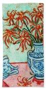 Chrysanthemum And Frog Beach Towel