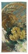 Chrysanthemums Or The Overturned Basket Beach Towel