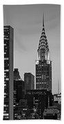 Chrysler Building New York City Bw Beach Towel