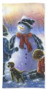Chubby Snowman  Beach Towel