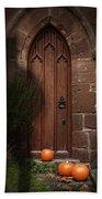 Church Door At Halloween Beach Towel