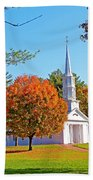Church In Autumn Beach Towel