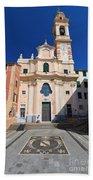 church in Sori. Italy Beach Towel
