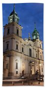 Church Of The Holy Cross At Night In Warsaw Beach Towel