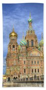 Church Of The Saviour On Spilled Blood. St. Petersburg. Russia Beach Towel
