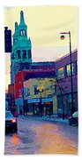 Church Street In Winter Melting Snow Sunset Reflections Montreal Urban City Landscape Scene Cspandau Beach Towel