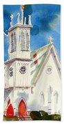 Church With Jet Contrail Beach Sheet