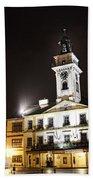 Cieszyn Town Center At Night Beach Towel