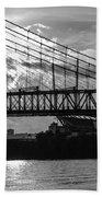 Cincinnati Suspension Bridge Black And White Beach Towel by Mary Carol Story