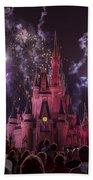 Cinderella's Castle With Fireworks Beach Towel by Adam Romanowicz