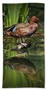 Cinnamon Teal Duck With Reflection Beach Sheet