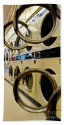 Circular Doors On Laundromat Washing Machines Beach Towel