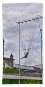 Cirque Carpe Diem Near Quays Along Saint Lawrence River In Montreal-qc Beach Towel
