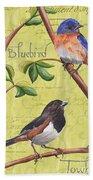 Citron Songbirds 1 Beach Towel by Debbie DeWitt