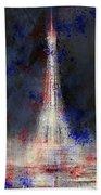 City-art Paris Eiffel Tower In National Colours Beach Towel