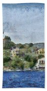 City By The Sea Beach Towel by Ayse Deniz
