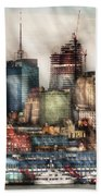 City - Hoboken Nj - New York Skyscrapers Beach Towel