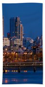 city lights and blue hour at Tel Aviv Beach Towel