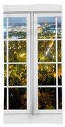 City Lights White Window Frame View Beach Towel