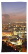 City Lit Up At Night, Esslingen Beach Towel