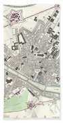 City Map Or Plan Of Florence Or Firenze Beach Towel