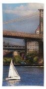 City - Ny - Sailing Under The Brooklyn Bridge Beach Towel